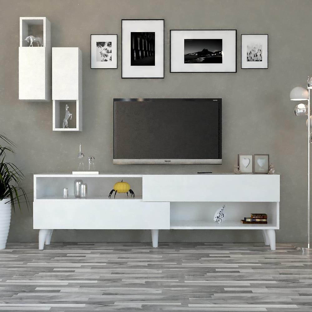 طاولة تلفزيون حديثة لون أبيض 101