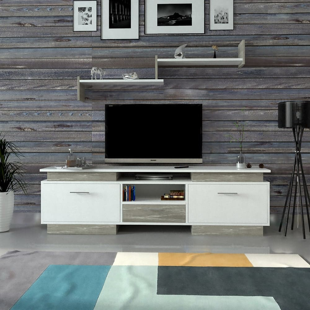 طاوله تلفاز أبيض مع رمادي 118