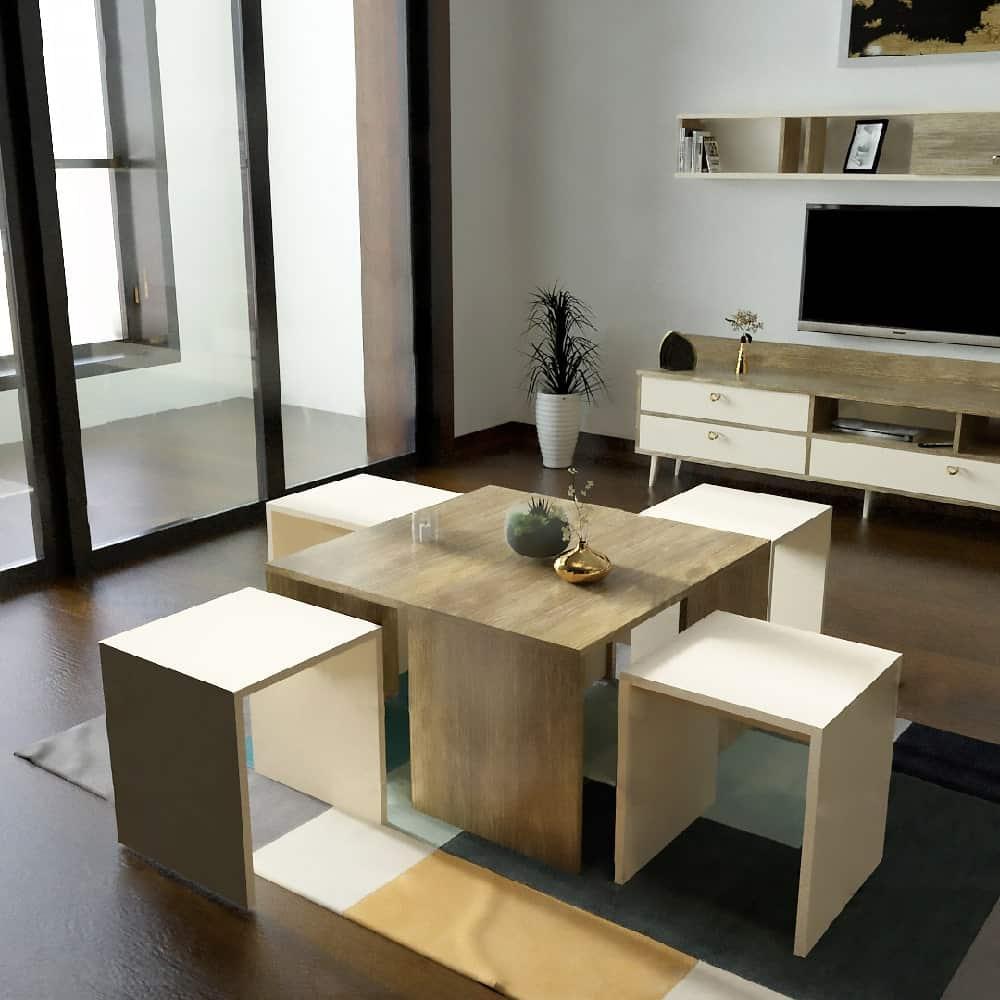 طقم طاولات بيج مع خشبي 203