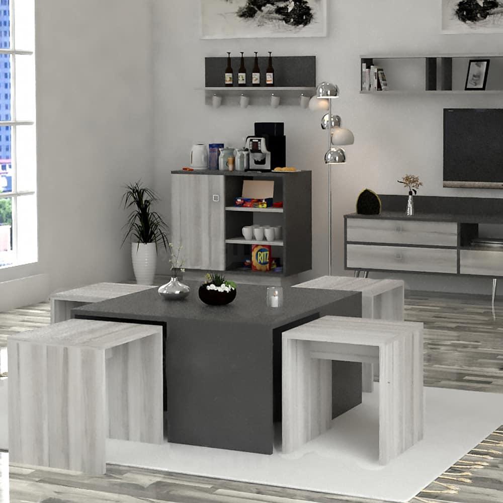 طقم طاولات أبيض مع رمادي 202