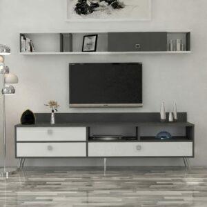 طاولة تلفزيون أبيض مع رمادي 154