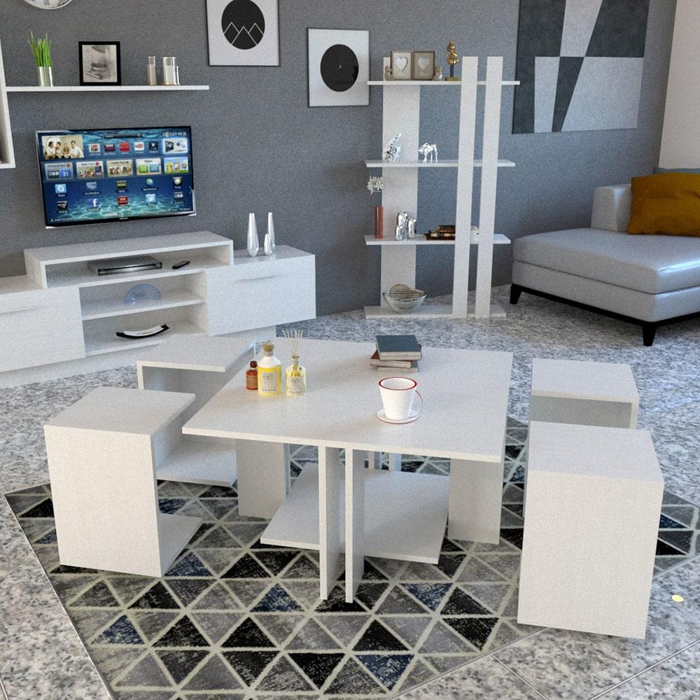 طاولة وسط مع 4 طاولات خدمة لون أبيض 404