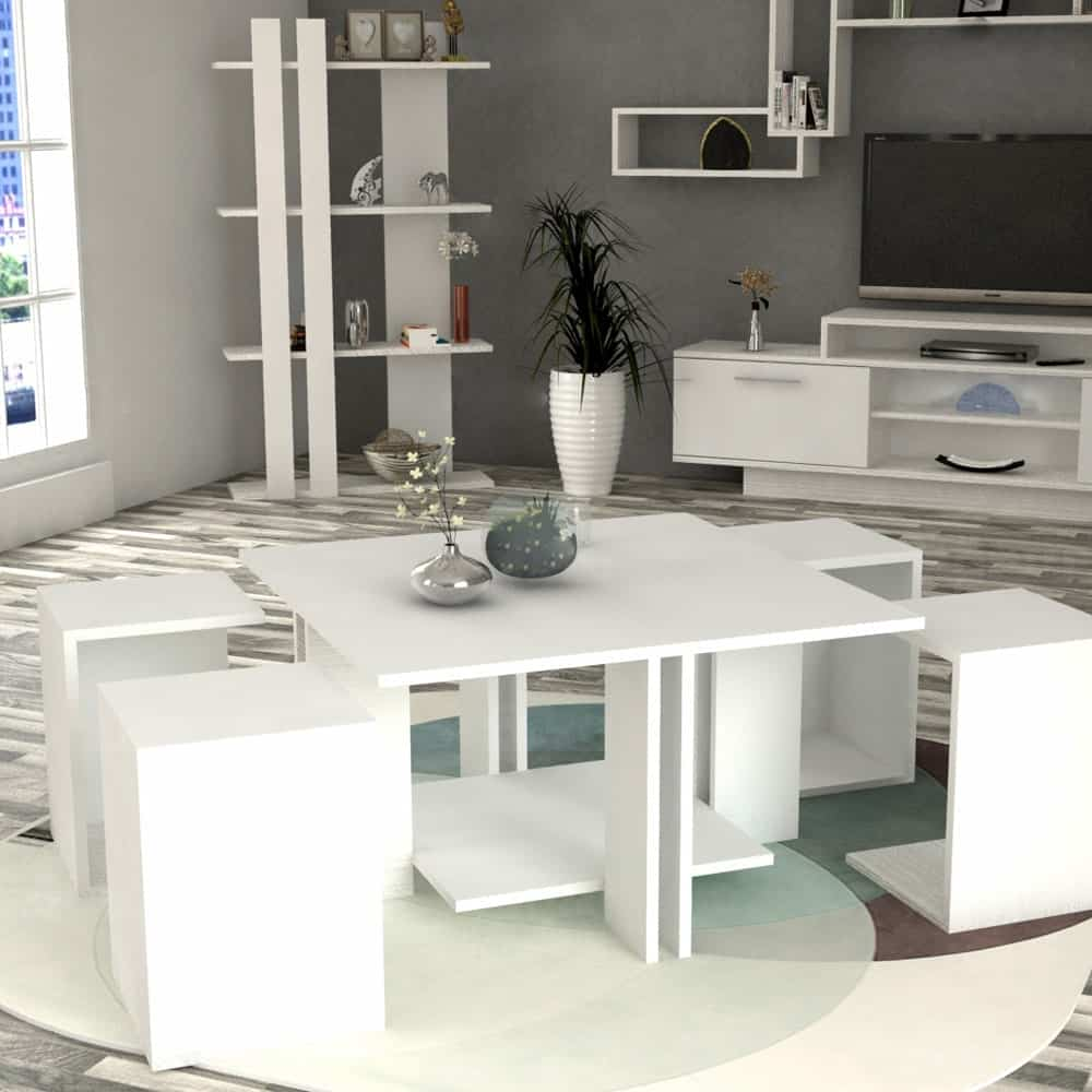 طقم طاولات و زاويه لون أبيض 204