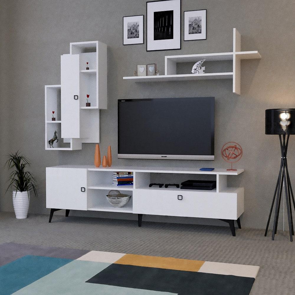 طاولة تلفاز خشب لون أبيض 162