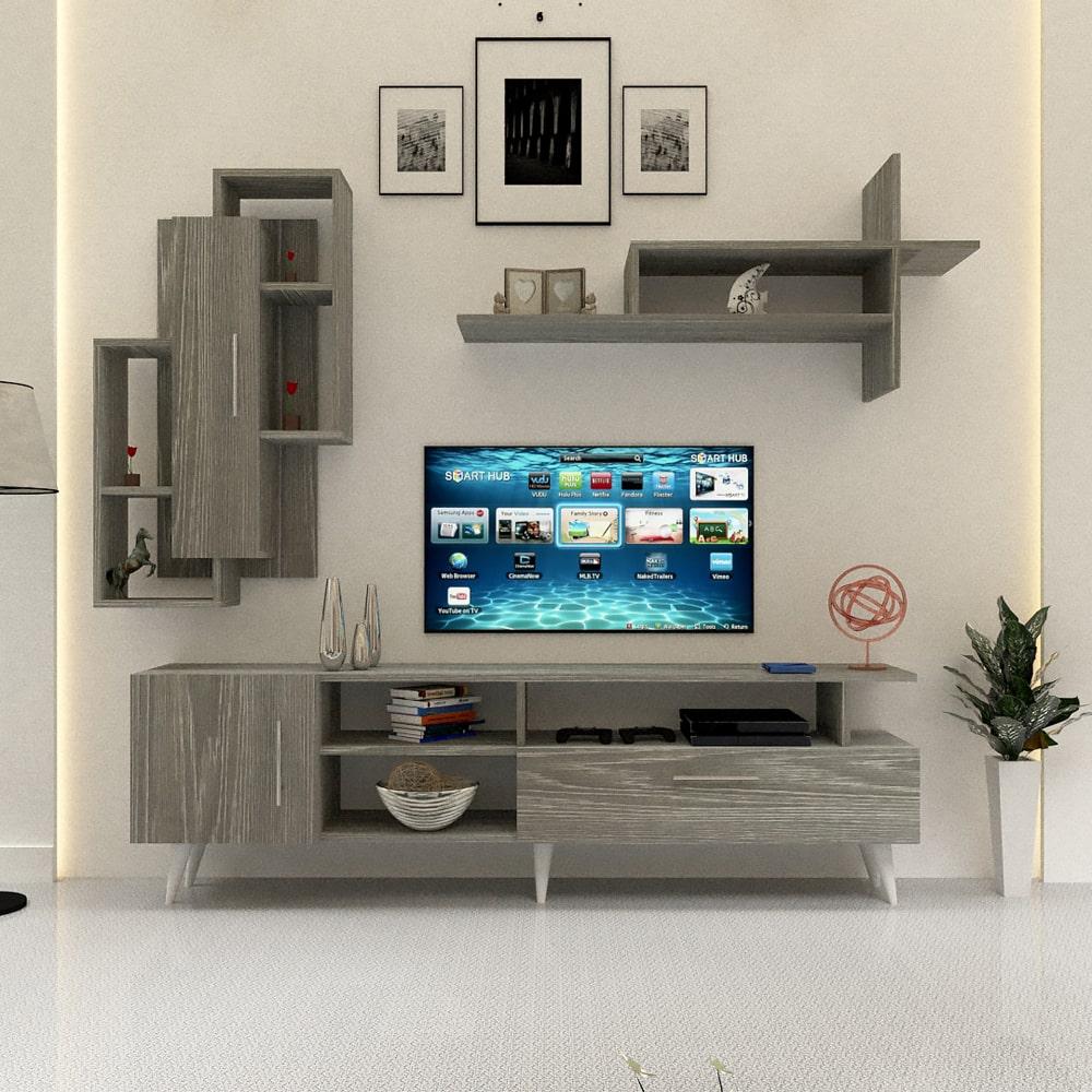 طاولة تلفاز خشب لون رمادي 170