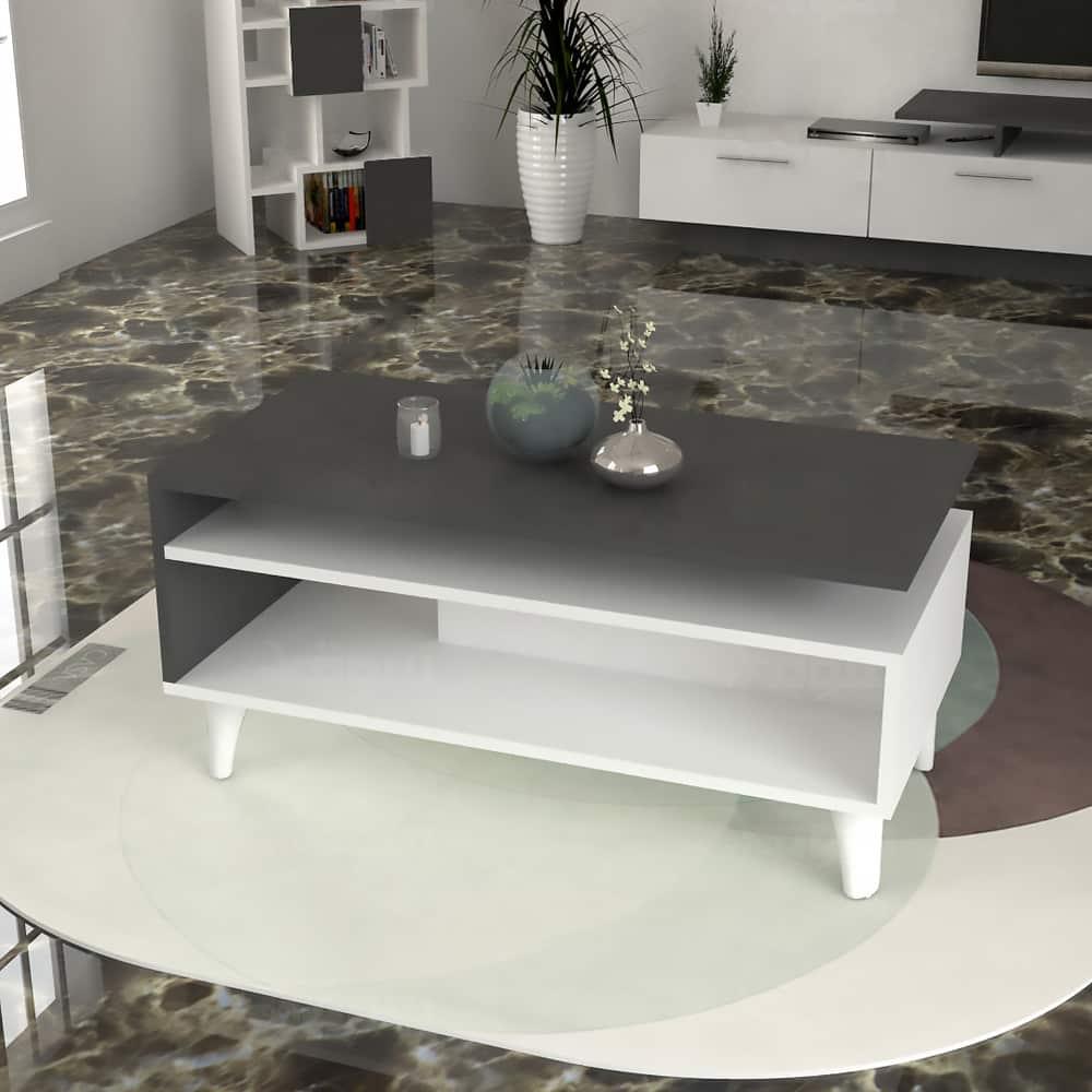 طقم طاولات وزاوية لون أبيض مع رمادي 216