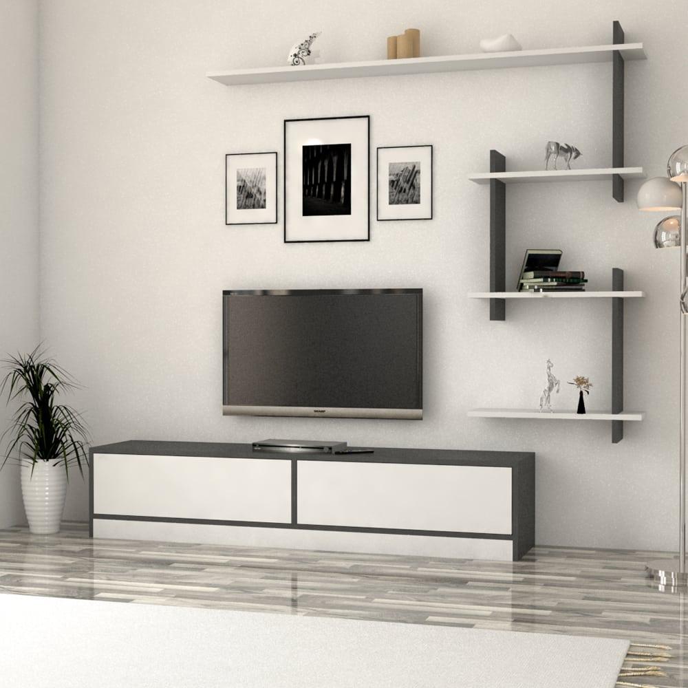 طاولة تلفزيون عصريه لون أبيض مع رمادي 188