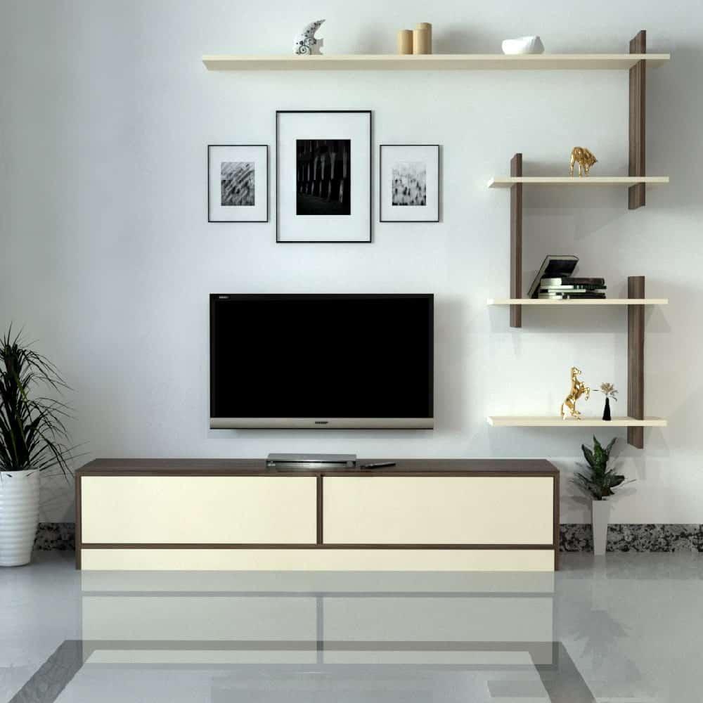 طاولة تلفزيون عصريه لون بيج مع بني 189