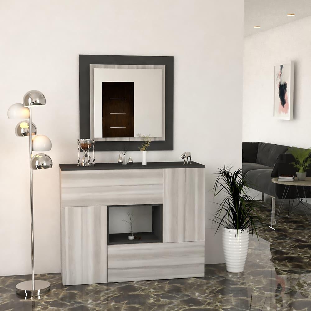 مدخل وخزانة لون أبيض مع رمادي 802