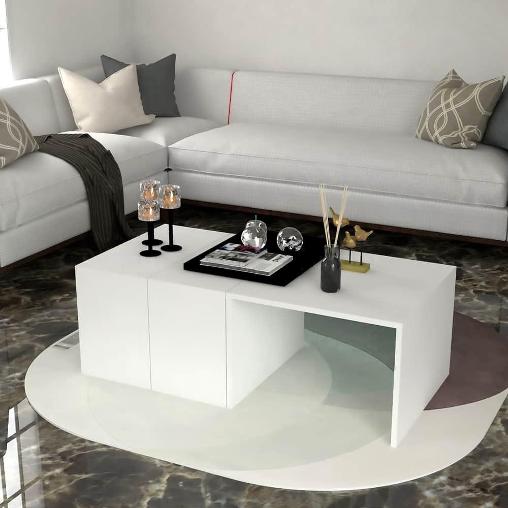 طاولة وسط 4 قطع لون أبيض 432