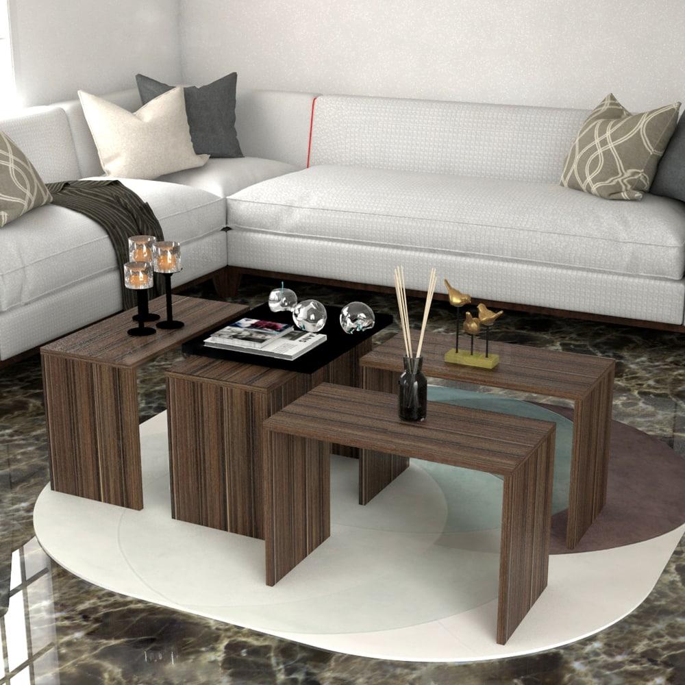 طاولة وسط 4 قطع لون بني 433