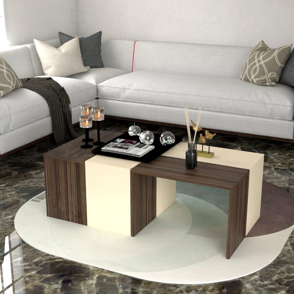 طاولة وسط 4 قطع بيج مع بني 430