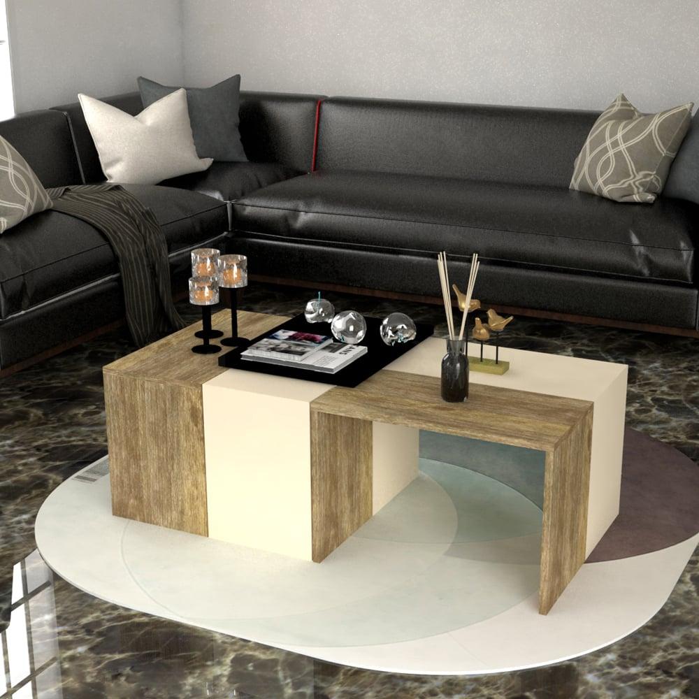 طاولة وسط 4 قطع بيج مع خشبي 429