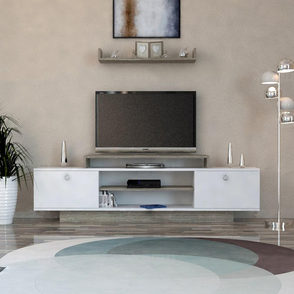 طاولة تلفاز لون أبيض مع رمادي 196