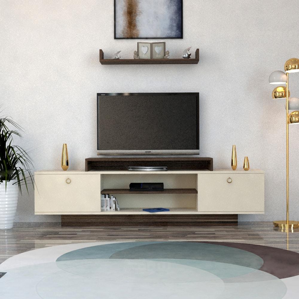 طاولة تلفاز لون بيج مع بني 195