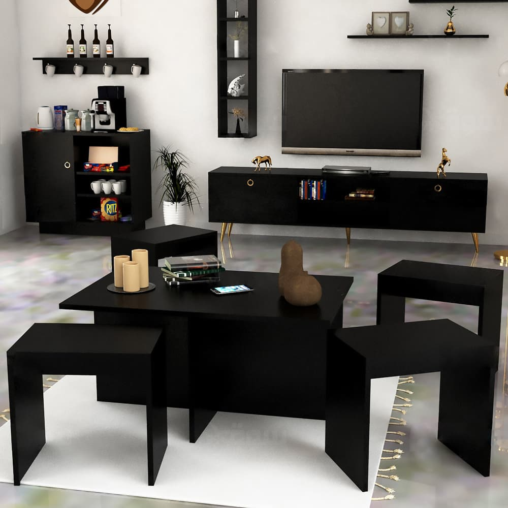 طقم طاولات مودرن لون أسود 235