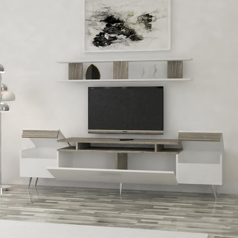 طقم طاولات تصميم تركى أبيض مع رمادي 236